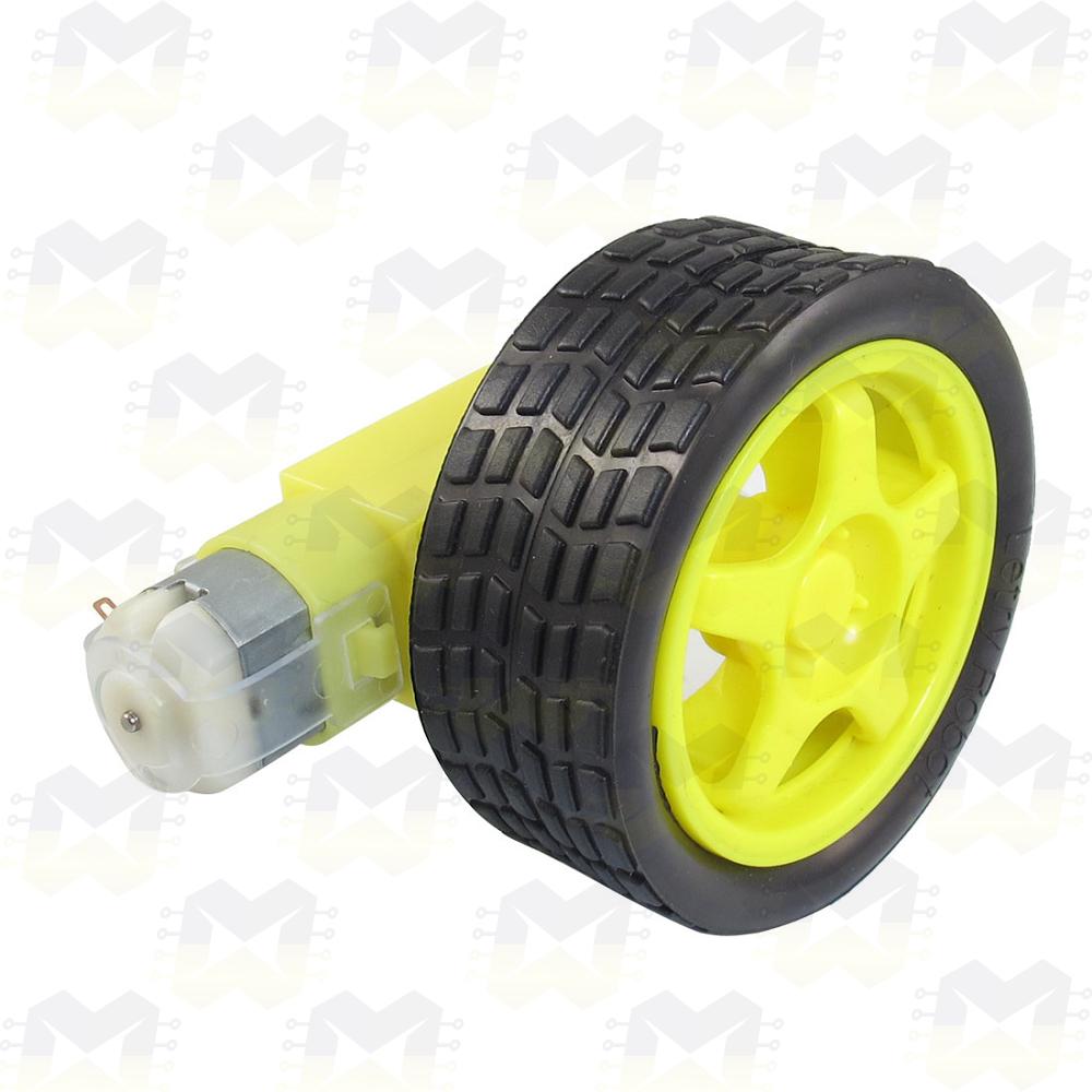 KIT Roda 68mm com Caixa de Redução e Motor 3-6V 48:1 Arduino Robô Robótica Carrinho Chassi