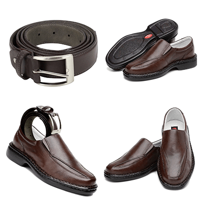 kit sapato casual masculino marrom de couro