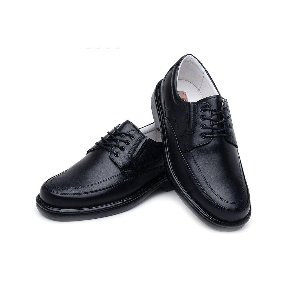 beba39ef0 ... Sapato Casual ClaCle Conforto Masculino Preto com Cadarço - Imagem 3 ...