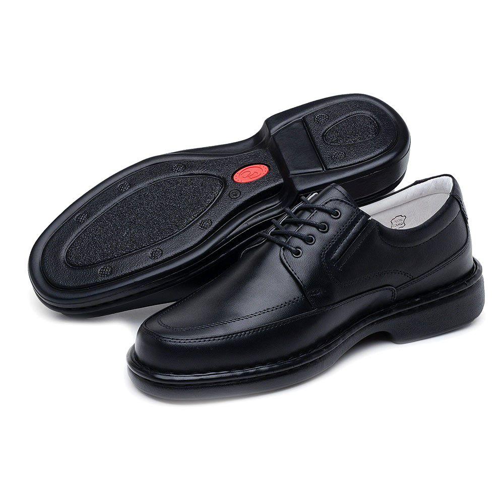 611603d5b ... Sapato Casual ClaCle Conforto Masculino Preto com Cadarço - Imagem 2 ...