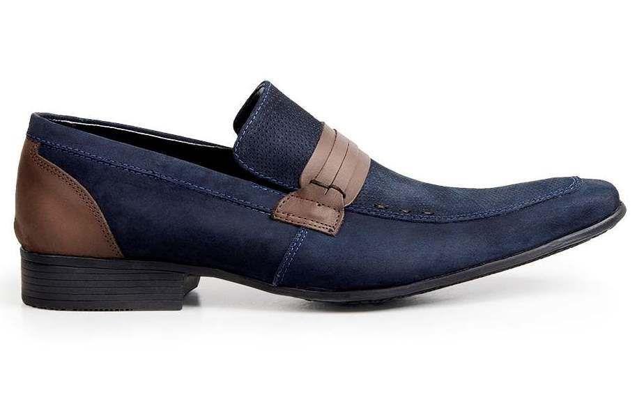 44a73295be Sapato Casual Bigioni Couro Nobuck Azul - Loja Santa Fé Calçados ...