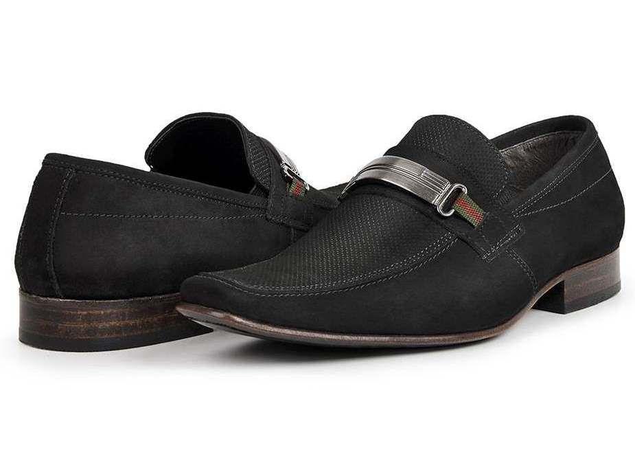 0455a6aa73 Sapato Casual Bigioni Couro Nobuck Aveludado Preto - Loja Santa Fé ...
