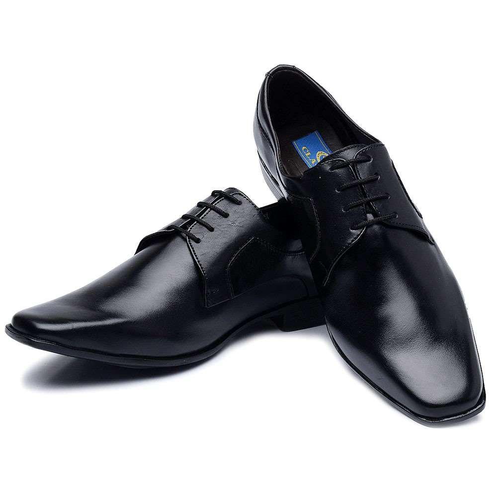 55ff8343f Sapato Social Masculino Preto com Cadarço - Loja Santa Fé Calçados ...