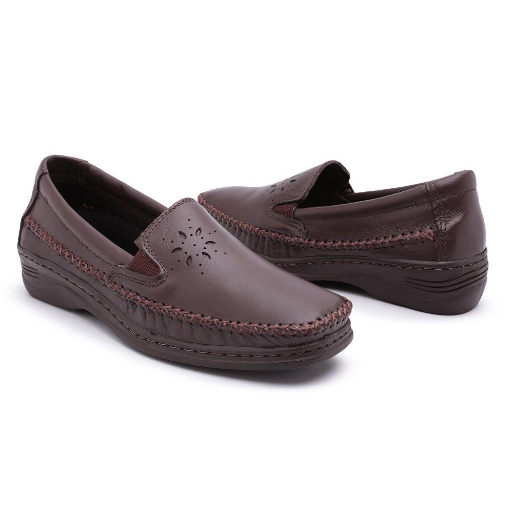 24ba5e7b96 Sapato Comfort Pizaflex Feminino Marrom - Loja Santa Fé Calçados ...