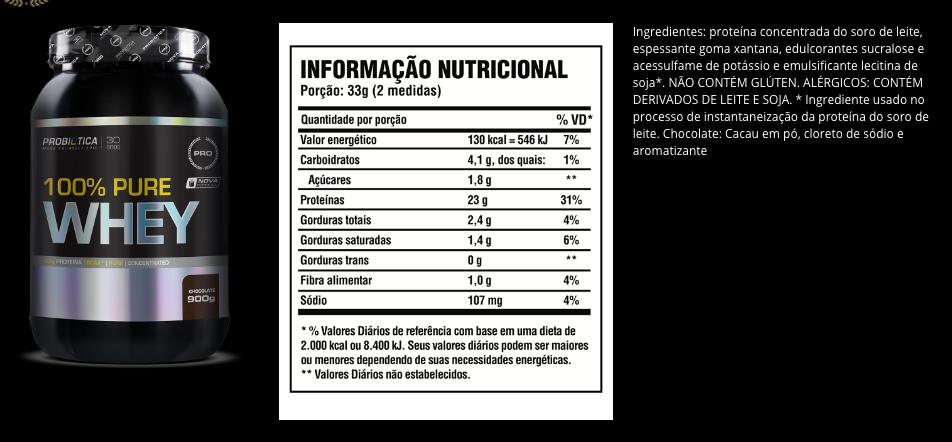 eb966a621d 100% Pure Whey (900g) - Probiótica - Mega Store Suplementos - Loja ...