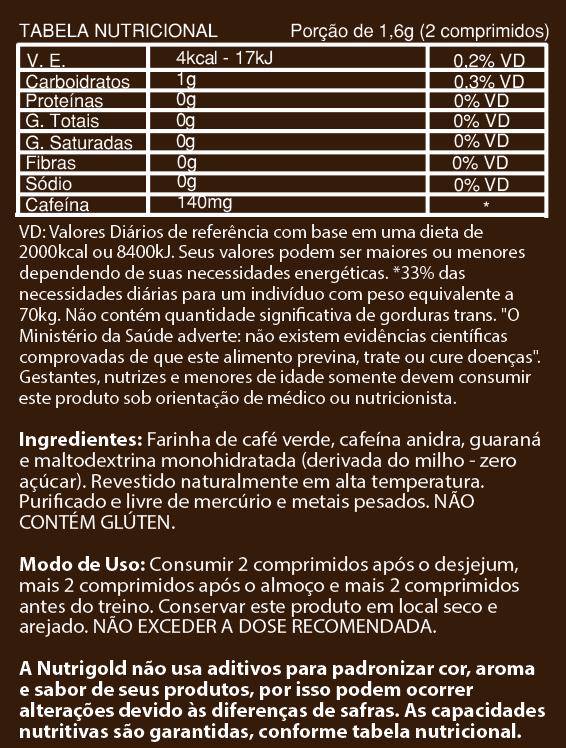 Comprimidos de Cafeina Platinum (180) NutriGold