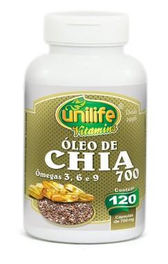 Oleo de Chia em Capsulas 120 unds (700mg) - Unilife