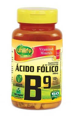 Vitamina B9 Acido Folico 60 Capsulas (500mg) - Unilife
