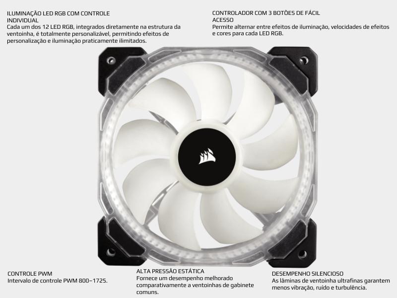 Cooler fan corsair hd120 led rgb especificação