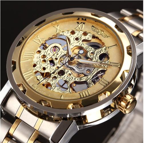 f19b4b88a16 Relógio De Luxo TIMI Gold Skeleton Fashion Mecânico. Marca Winner !!!