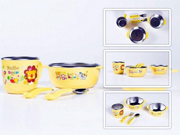 Kit de Alimentação Infantil Bandeja e Talheres com estojo Parklon 5 Pecas
