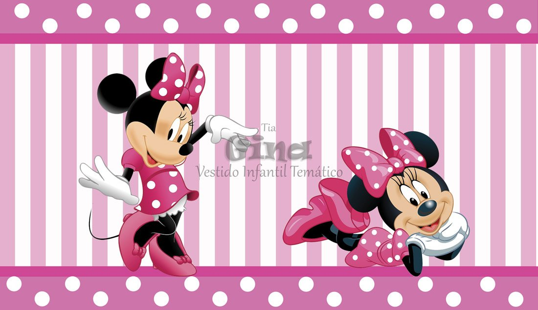Tecido Minnie Mouse Disney Minnie Rosa Estampa Sublimada.
