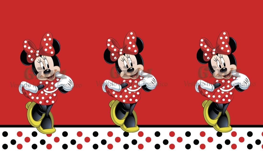 Tecido Minnie Mouse Disney Vermelha Estampa Sublimada.
