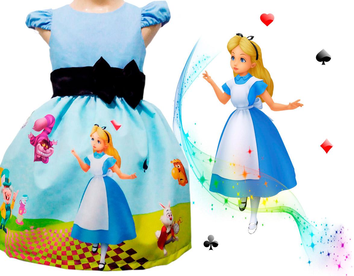 Vestido Festa Infantil Tema Alice no País das Maravilhas