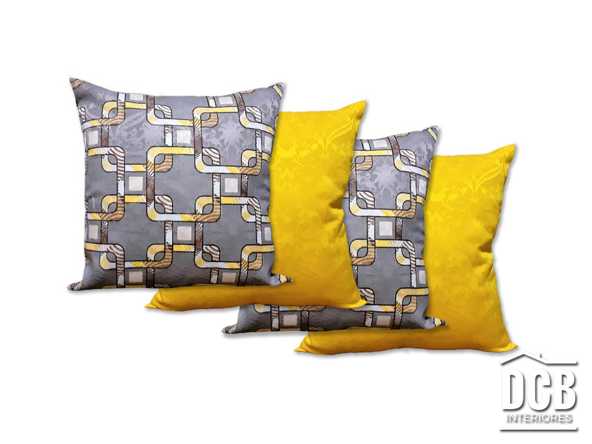 Kit 4 Almofadas Decorativas Geométrico Cinza e Amarelo 40x40 Centímetros