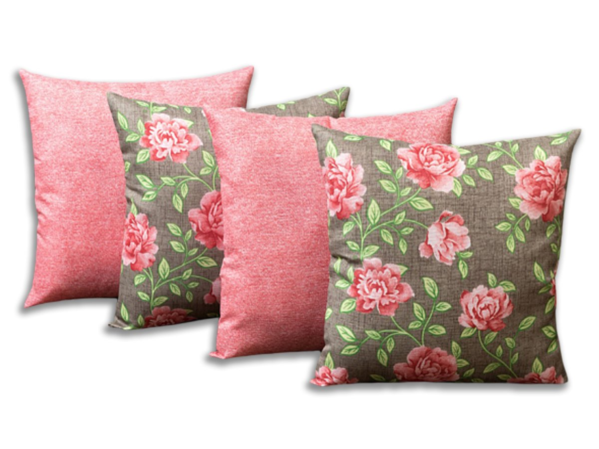 Kit 4 Capas Para Almofadas Decorativas Floral Rosa