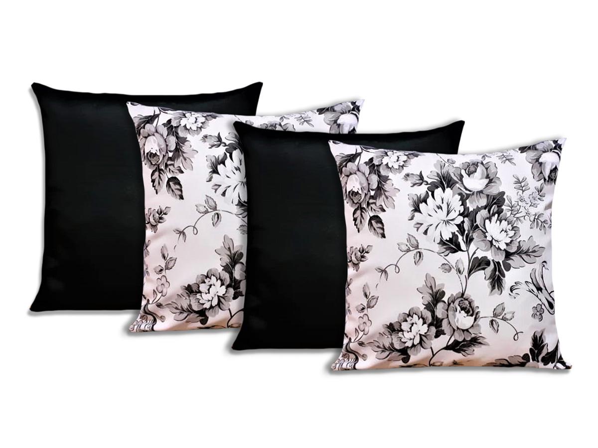 Kit 4 Capas Para Almofadas Decorativas Flores Preto e Branco
