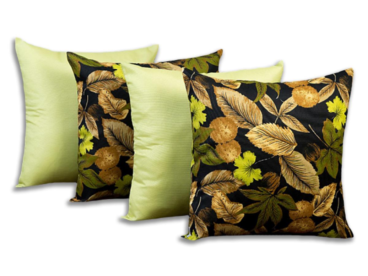 Kit 4 Capas Para Almofadas Decorativas Flores Verde Pistache