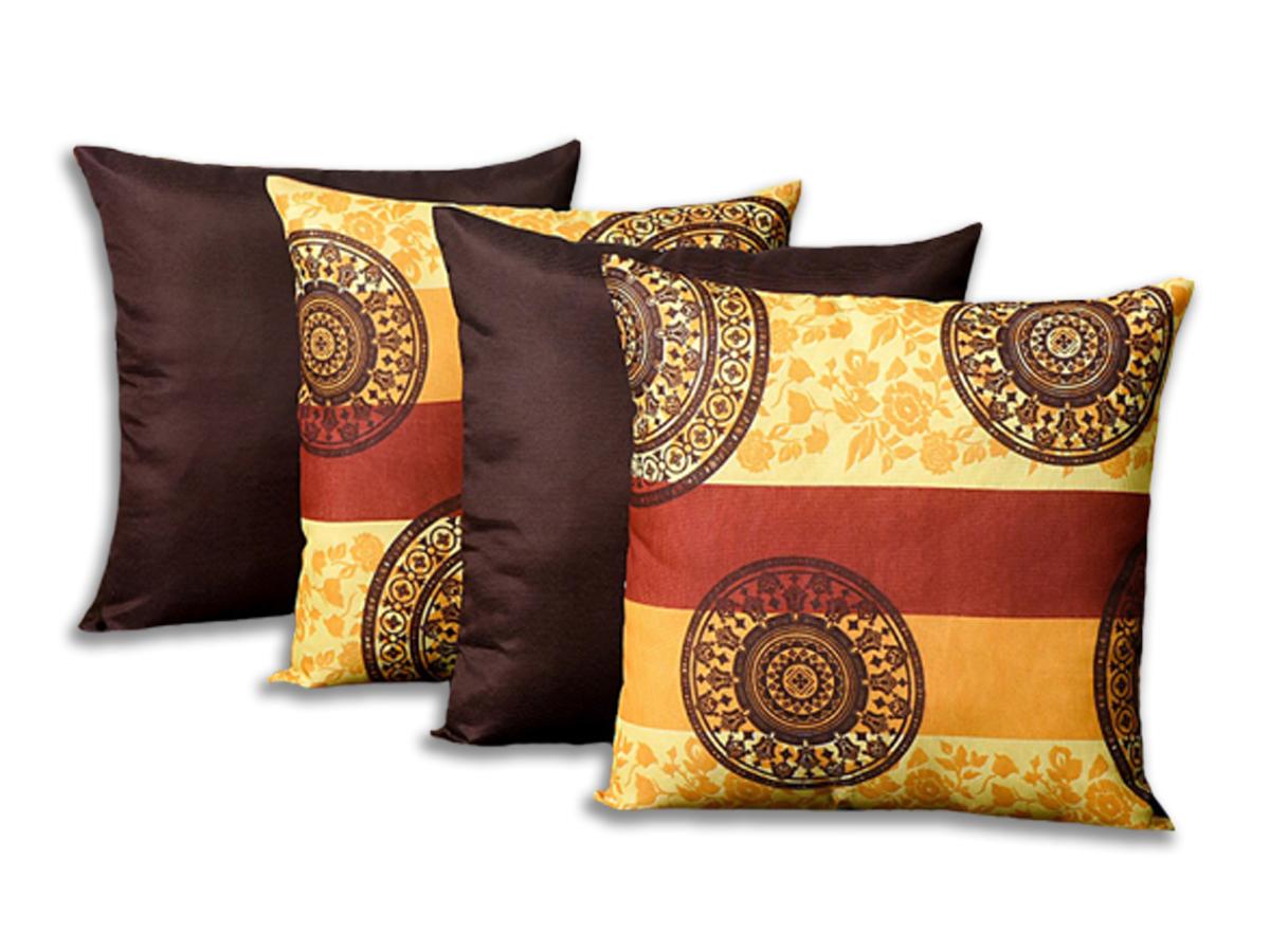 Kit 4 Capas Para Almofadas Decorativas Mandala Tabaco