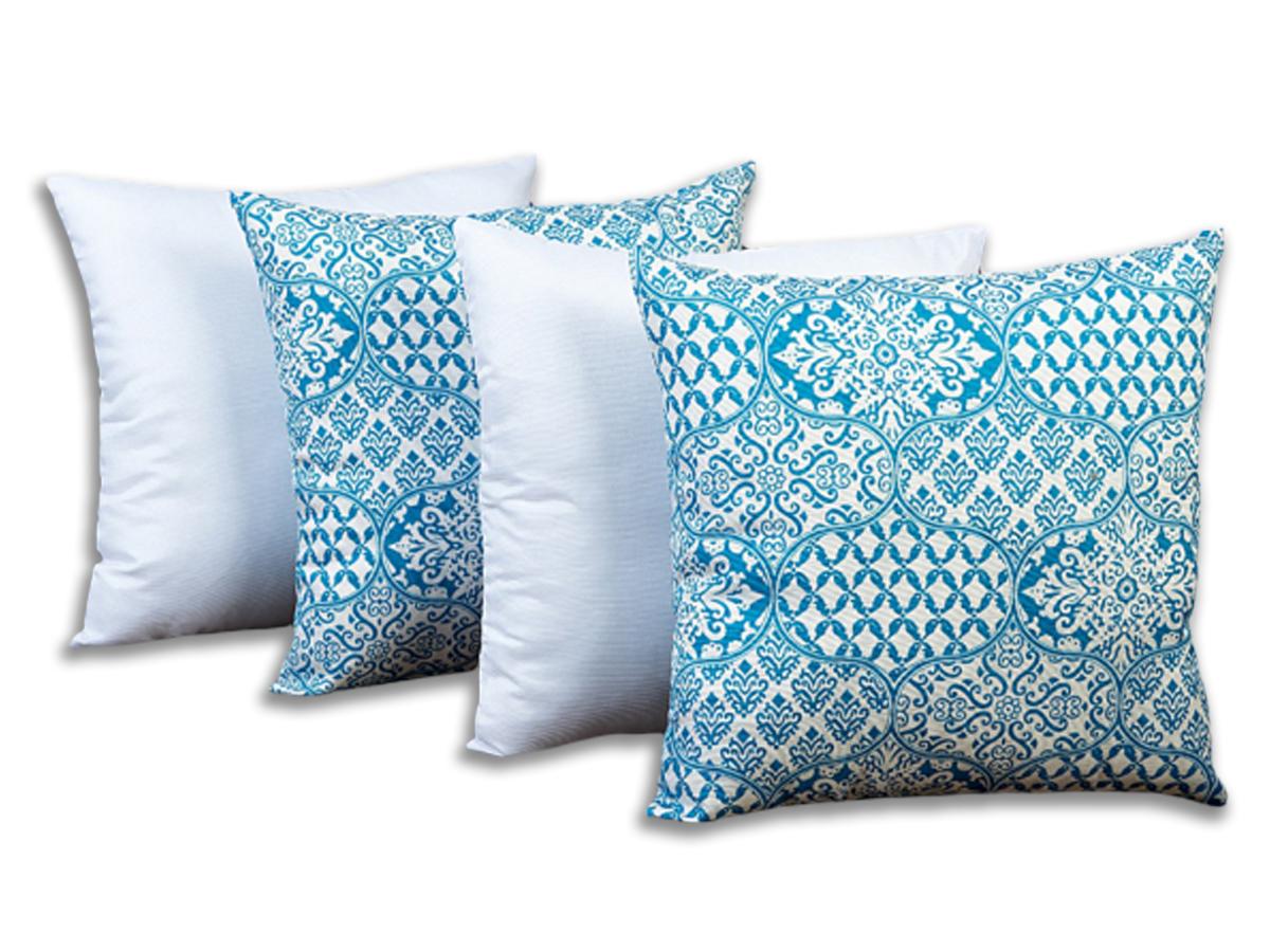 Kit 4 Capas Para Almofadas Decorativas Modernas Azul
