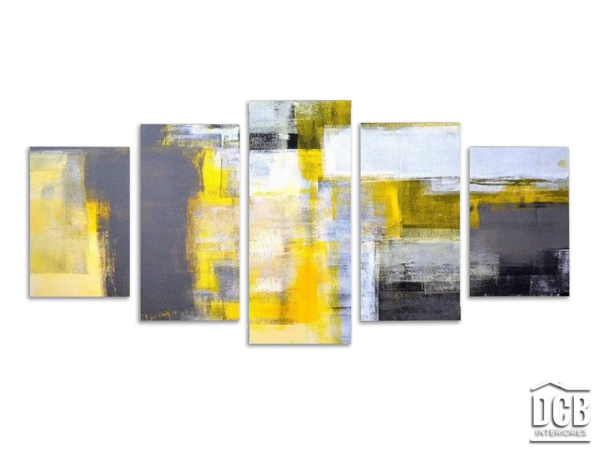 Quadro Abstrato Moderno 5 Telas Amarelo e Cinza 70x162 Centímetros