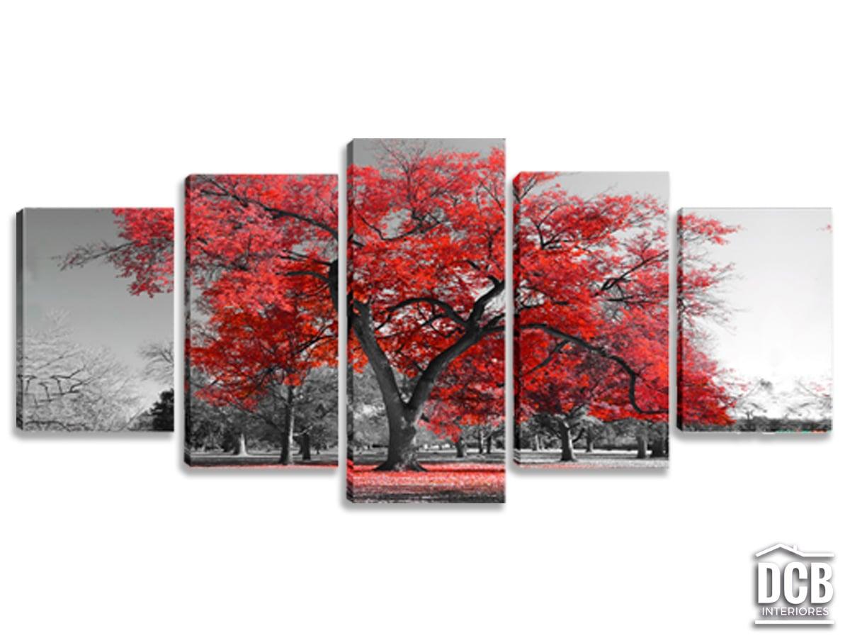 Conjunto de Quadros Decorativos 5x1 Árvore Vermelha
