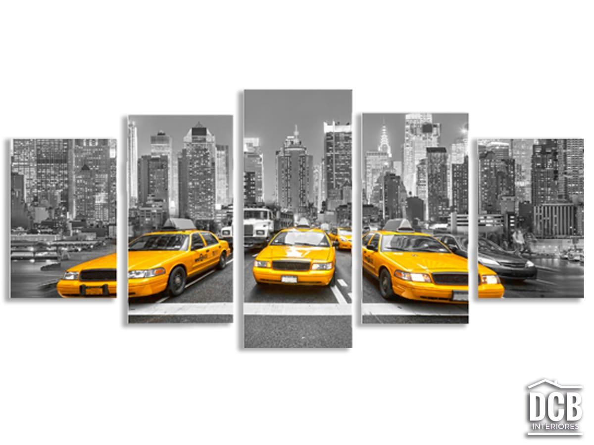 Quadro Decorativo Grande Táxi Amarelo 5 Telas 70x162 Centímetros