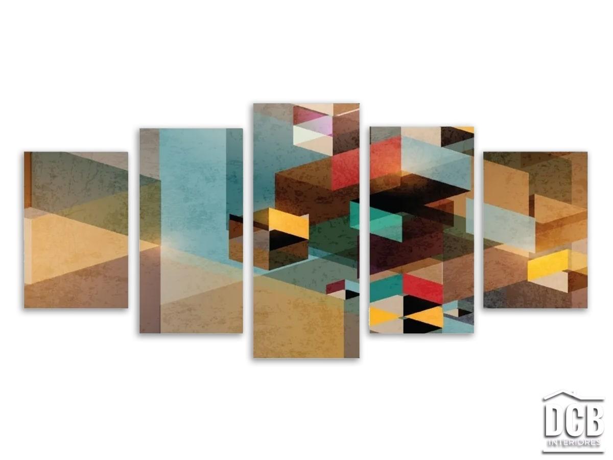Quadro Decorativo Moderno 5 Telas Geométrico 70x162 Centímetros