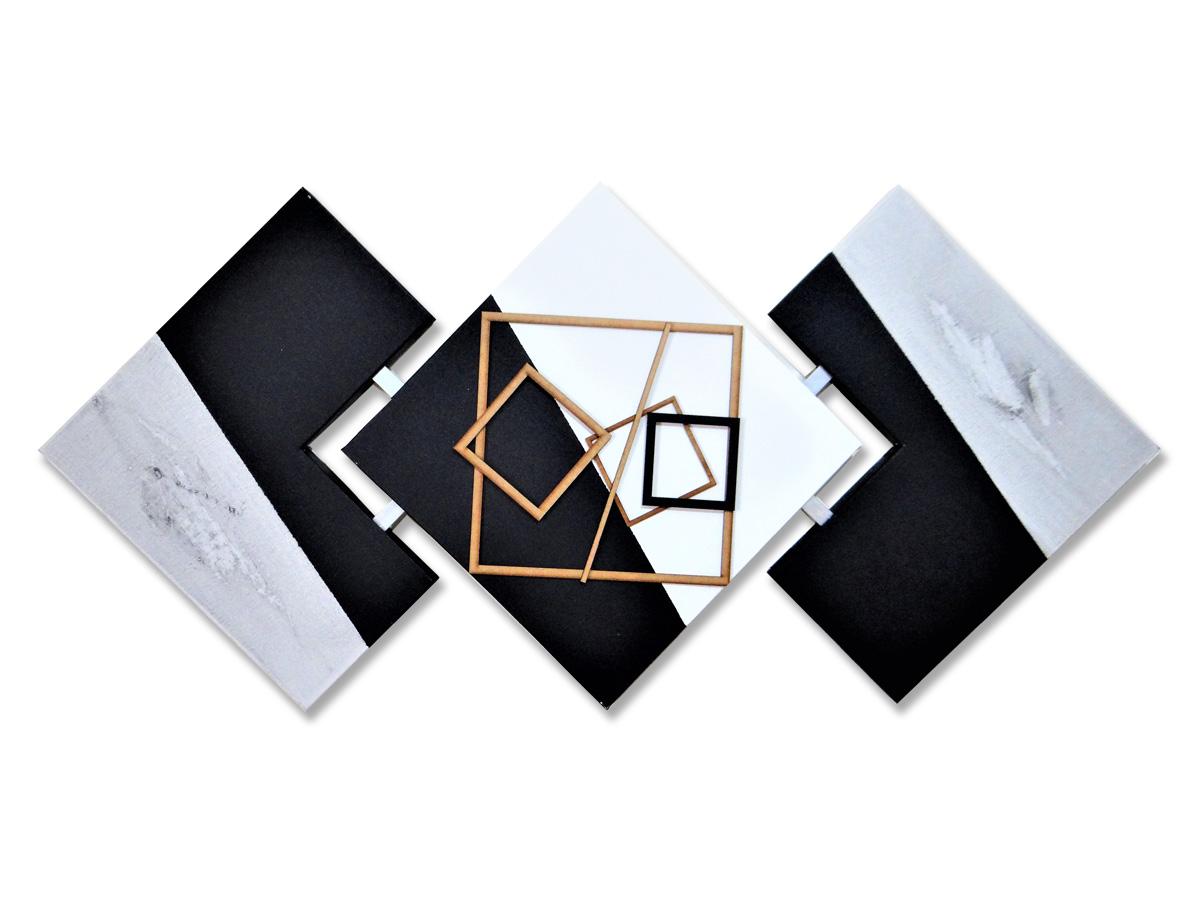 Quadro Para Sala Abstrato Pintura Artesanal Preto e Cinza 60x120 Centímetros