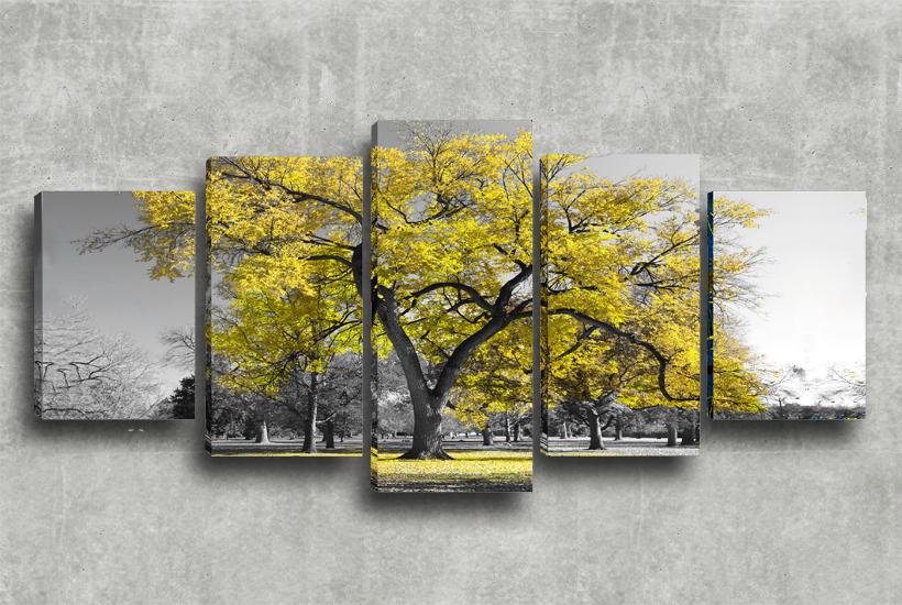 Conjunto de quadros decorativos 5x1 rvore amarela decorando com brilho transformando sua - Telas decorativas para paredes ...