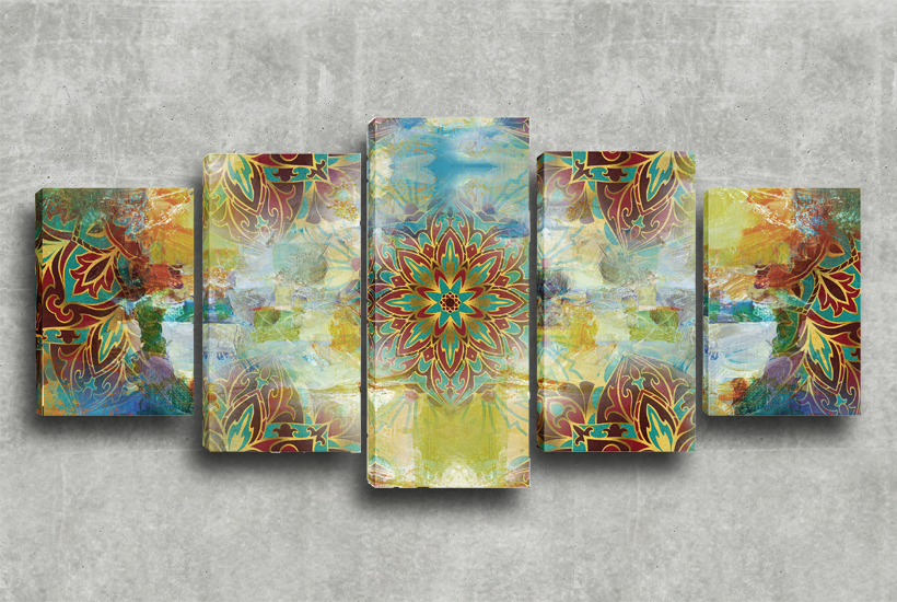 Conjunto de Quadros Decorativos 5x1 Mandala Multicor