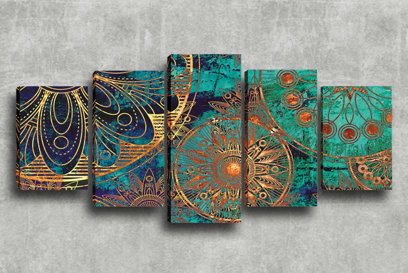 Quadros Decorativos 5 Telas Mandala Verde