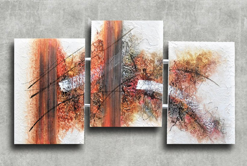 Quadro Decorativo Abstrato Triplo 60x126 QDT05