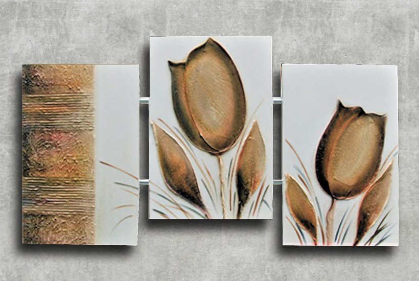 Quadro Decorativo Abstrato Triplo 60x126 QDT08