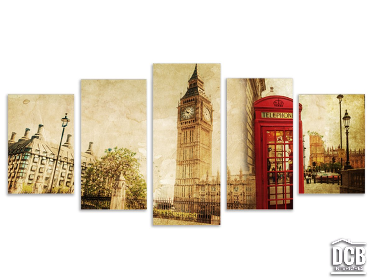 Quadros Decorativos 5 Telas Londres