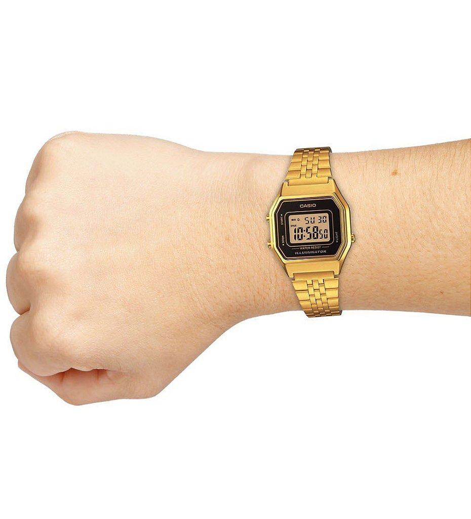 a8d420eef87 Relógio Casio Vintage LA680WGA-1DF Preto Dourado - Radical Place ...