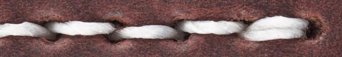 detalhe da costura em couro