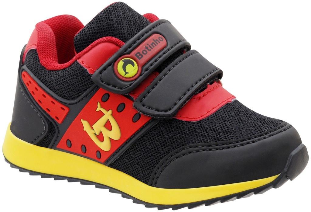 46d1eb212dd Tênis Infantil Esportivo Preto Vermelho Fechamento em Velcro Sola TR  Antiderrapante Marca Botinho