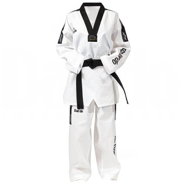 Dobok Kimono Taekwondo Daedo Master Fighter Gola Preta