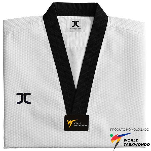 Dobok Kimono Taekwondo JCalicu Champion Gola Preta Homologado World Taekwondo
