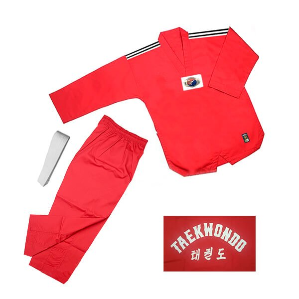 Dobok Kimono Taekwondo Sung-Ja Infantil Vermelho com Faixa