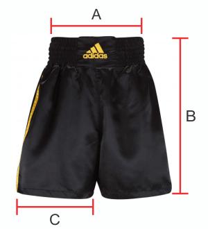Dimensões do Short Boxe Muay Thai Adidas