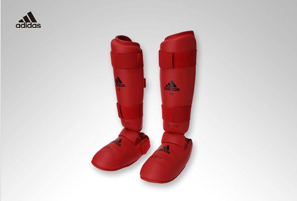 Protetor de Canela e Peito do Pé Adidas Oficial WKF Vermelho