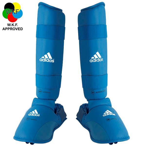 Protetor de Canela e Peito do Pé Adidas Oficial WKF Azul 2012-2015
