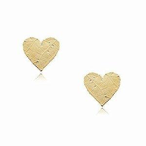 Brinco Folha com formato de Coração banhado a ouro