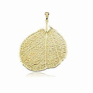 Pingente banhado a ouro com Folha do Cerrado Natural