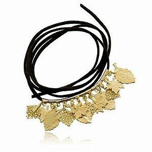 Pulseira Chamois com 12 folhas banhadas a ouro