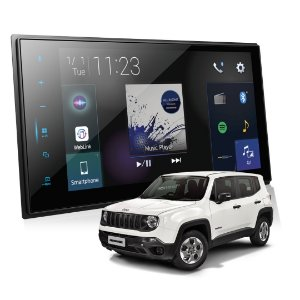 "Central Multimídia Jeep Renegade Pioneer Dmh-zs8280tv Tela 8"" Kit com moldura"
