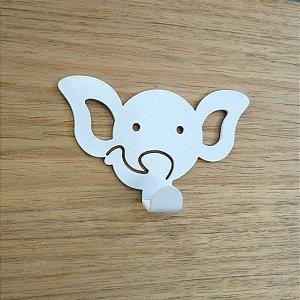 Suporte De Parede Gancho Elefantinho Branco
