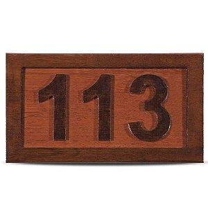Placa de Madeira Entalhada 3 Números